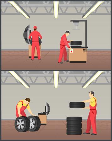Taller para neumáticos, ilustración vectorial de mantenimiento, imagen en color con hombres en cobertores rojos trabajando en servicio de montaje de ruedas, equipo de trabajo especial