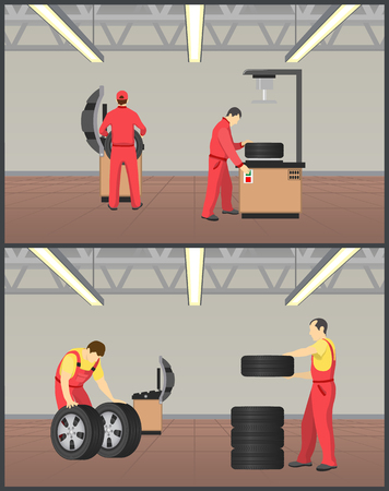 Workshop for tyres servicing vector illustration, color image with men in red coverlasses working on wheels fitting service, special work equipment