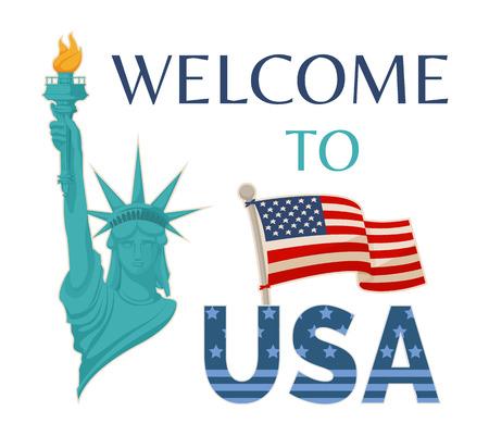 Benvenuto ai titoli della bandiera USA, statua della libertà con il fuoco, bandiera sul palo, simboli dell'America, cartolina d'auguri di vettore illustrazione isolato sfondo bianco