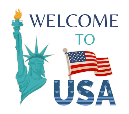 Welcome to USA banner headlines, Statue liberty with fire, flag on pole, symbols of America, vector illustration isolated white background greeting card Çizim