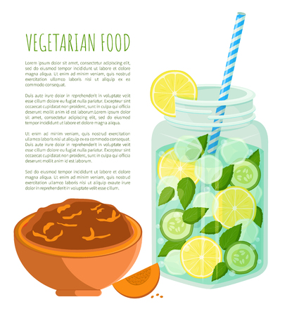 Vegetarian food poster refreshing summertime detox diet juice with lemon slices and cucumber, cocktail with straw and bowl of pumpkin porridge