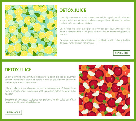 Detox juice web poster ingredients of refreshing drink lemon and cucumbers, carrots and beets, fresh apples cut into pieces vector banners with text set Illustration