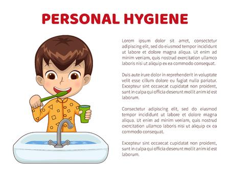 Cartel de información de higiene personal con niño en pijama que se cepilla los dientes frente al fregadero. El niño pequeño hace la ilustración de vector plano de dibujos animados de rutina diaria.