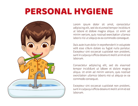 Personal hygiene info poster with boy in pajamas who brushes teeth in front of sink. Little kid does daily routine cartoon flat vector illustration. Иллюстрация