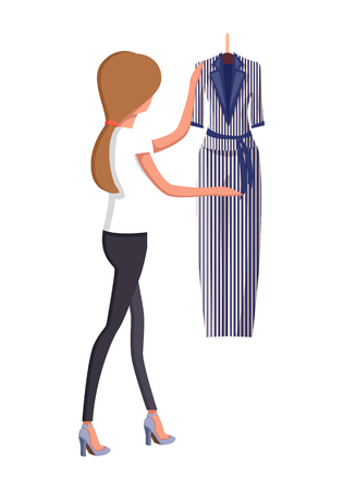 Woman Choosing New Summer Vogue Suit with Trousers Illustration