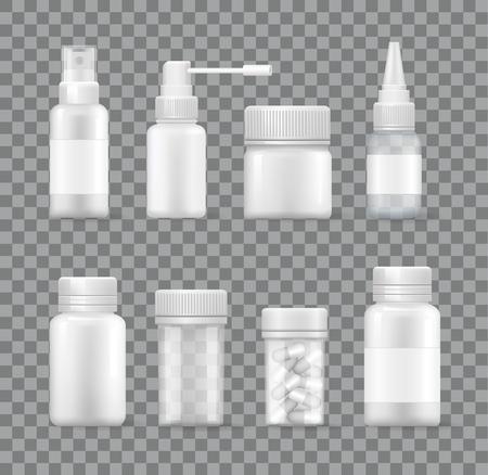 Medicaments Set Isolated on Transparent Background Illustration