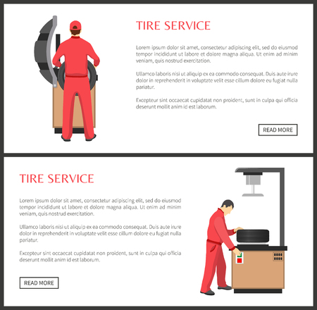 Tire service colorful banner vector illustration, isolated on white tools for wheels fitting or installation, text sample and mechanics in coveralls