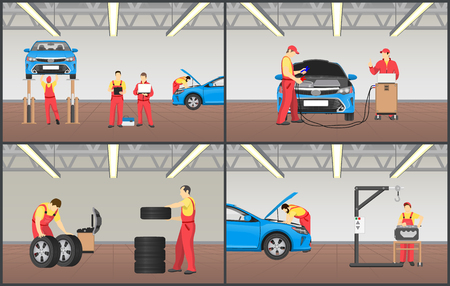 Set of automobile workshop vector illustrations, mechanics in coveralls repairing that inspecting car s engine, wheel and tyre service on special tool