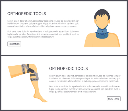 Orthopedic tools web pages with title and information neck knee injuries ways to solve painful problems, internet sites collection vector illustration
