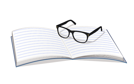 Copybook and glasses isolated on white backdrop vector illustration eyeglasses black frame, clear open notebook for different notes bright card Stok Fotoğraf - 107218689