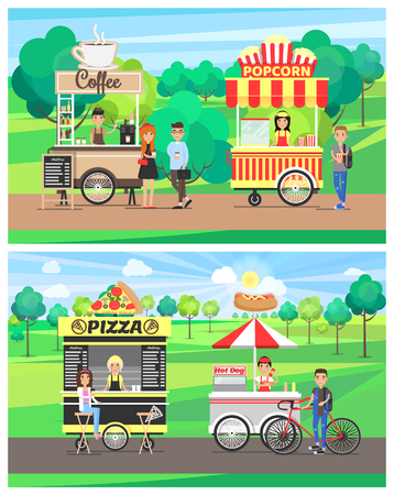 Pizza and hot dog vans, coffee popcorn cart, four street food wagons in green park, happy customers eating various snacks vector illustration set