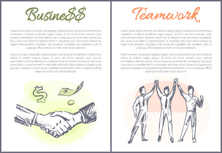 Business and teamwork posters collection text sample, handshake making agreement, people giving high-five, teambuilding and cooperation vector illustration