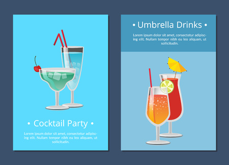 Umbrella drinks cocktail party invitation posters set tropical refreshing cocktails Blue Lagoon, Long Island, Vodka with juice, lemonade isolated