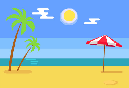 Tropical island seashore hot sand and blue water, exotic beach with palm trees near umbrella, vector illustration of shoreline summer resort