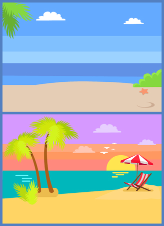 Coastal view posters set tropical seascape, sea sand and palm trees, sunset or sunrise, umbrella over sunbed exotic island vector beach summer backgrounds