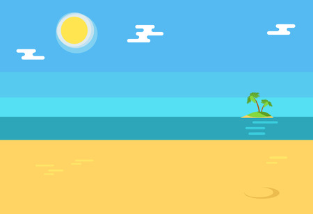 Summertime background seashore, island with palms far away in sea, hot summer day on tropical beach vector illustration of tropic nature daytime