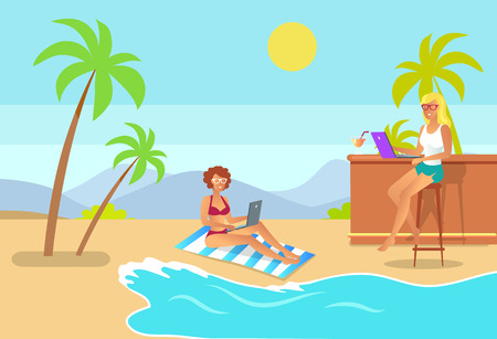 Freelance aspect illustration women and beach, freelancer girl working on laptop, distant worker at bar counter typing notebook vector coastline view