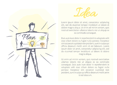 Idea and plan poster with text sample man hold card where depicted electric bulb prize, image of human, creative vector illustration isolated on white
