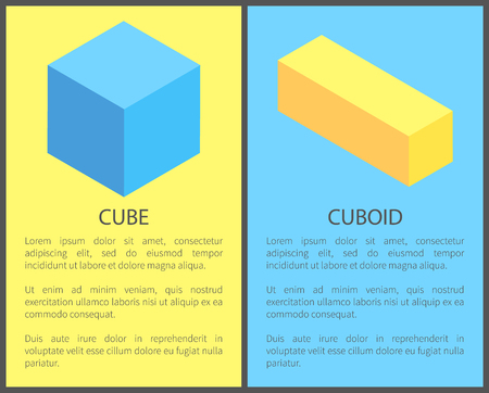 Cube and cuboid poster with headlines text samples, collection of banners, cubic shapes vector illustration isolated on yellow blue, geometric figures