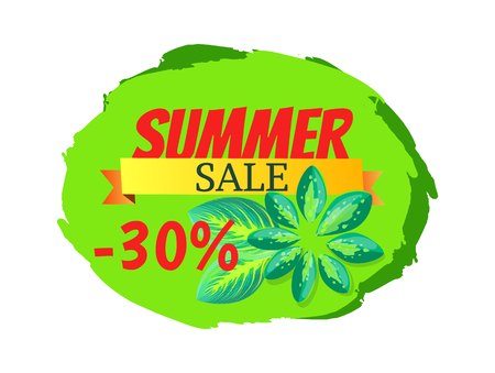 Summer sale with 30 off promo tropical banner. Seasonal discount poster exotic palm leaves. Big summertime cartoon flat vector illustration.