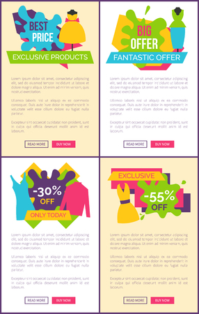 Hot sale on products of premium goods stylish clothes emblems with discounts set. Exclusive quality apparel reduction vector web page online posters