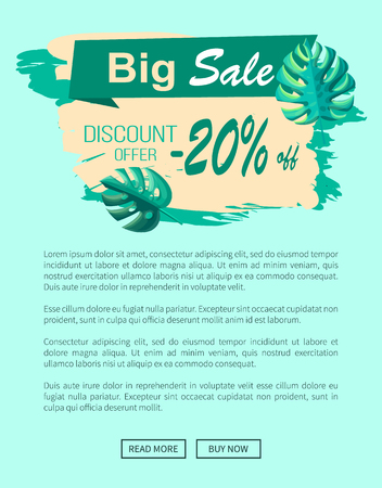 Big sale and discount offer 20 off banner. Summertime promotional poster with tropical plants leaves. Seasonal cost reduction vector online page