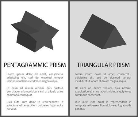 Pentagrammic and Triangular Prism Solid Figures Illustration