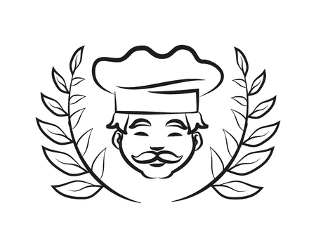 Chef Wearing Hat Laurel Branch Vector Illustration