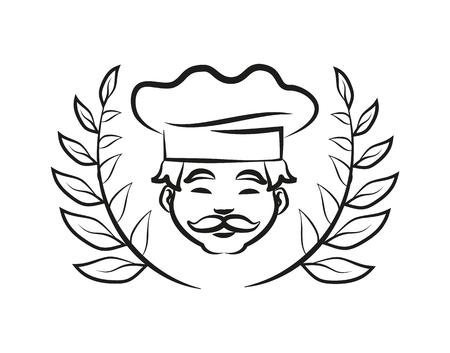 Chef, der Hut-Lorbeer-Zweig-Vektor-Illustration trägt Vektorgrafik