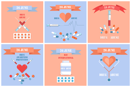 26 June International Drug Abuse Day Banners Set