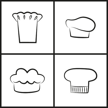 Chef Hats Monochrome Minimalistic Sketches Set