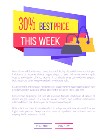 30 best price this week advertisement sticker modern purses on web poster with push buttons and place for text, vector illustration accessories sale