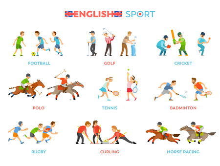 Football team, golf equipment, cricket players, polo or race on horses, tennis league, badminton competition, rough rugby, curling match vectors set.