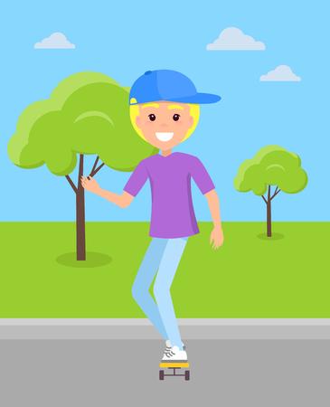 Smiling blond boy riding on skateboard at skatepark vector illustration of happy teen among green trees, young guy skater skateboarding, extreme rider. Illustration