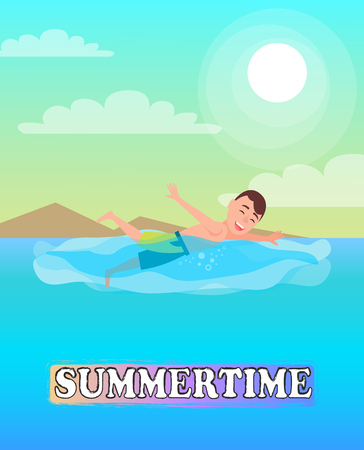 Swimming sport, man swims in blue sea at coastline, person and water, vector illustration summertime activity, swimmer who wears trunks on seaside.
