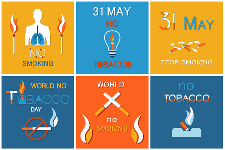 31 May day without cigarettes, refuse from harmful habit vector banners nicotine addiction reduce. World not tobacco day set asking to stop smoking,