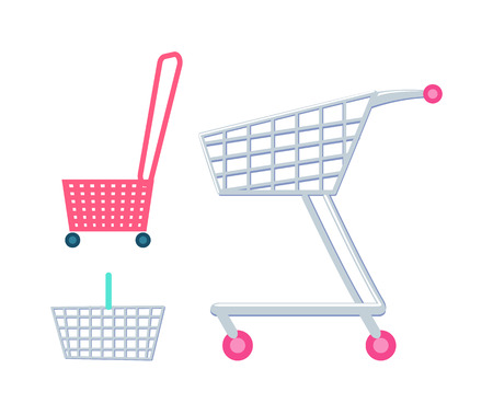 Shopping carts and baskets set, supermarket cart with wheel, trolley that has handle for carrying products vector illustration isolated on white.