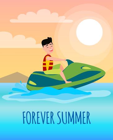 Cartel de verano para siempre con niño montando moto acuática, hombre con chaleco salvavidas en moto, actividad estacional y salpicaduras de vector de agua en la costa.