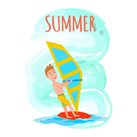 Summer poster windsurfing seasonal sport activity, male with surfboard holding sail, excited man windsurfer vector illustration summertime recreation.