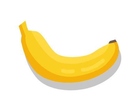Banana, tasty fruit sketch, isolated vector icon, illustration with white background, switty yellow product, ripe food image, reflections and shadow. Foto de archivo - 110488027
