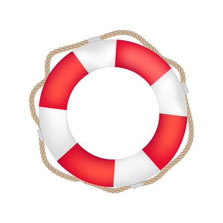 Gestreepte rode en witte reddingsboei met rond touw