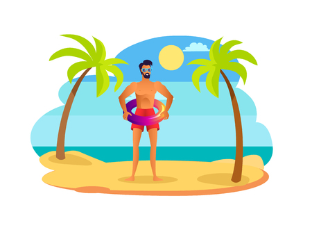 Man in sunglasses and red swimming trunks with shiny lifebuoy. Handsome suntanned guy wears swimwear standing on beach among palm trees vector summer.