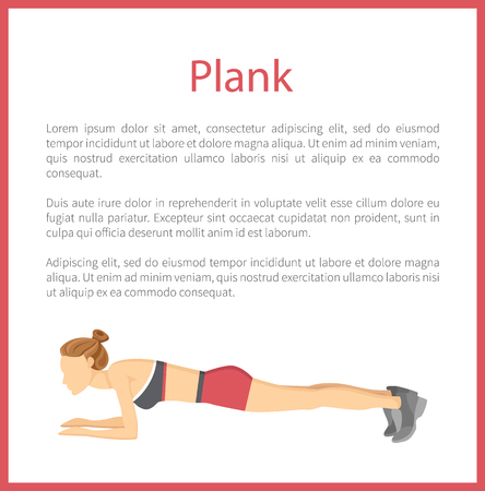 Plank poster with text sample under headline, woman does modern exercise, info and frame, fitness vector illustration isolated on white background.