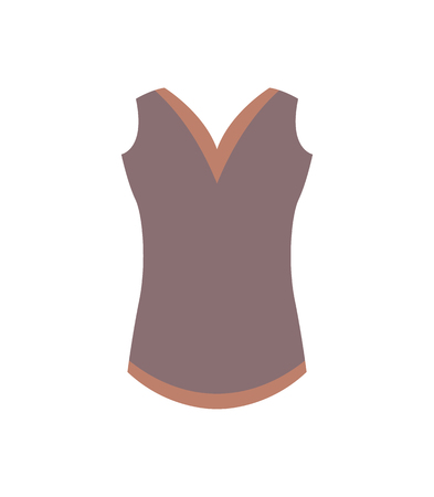 Casual warm female sleeveless vest in brown color. Elegant garment for women. Winter top made of soft wool isolated cartoon flat vector illustration.