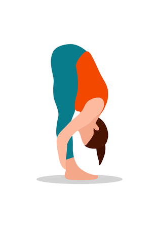 Mountain bend forward pose, yoga position and active lifestyle, healthy activity or sport cartoon vector illustration isolated on white background.