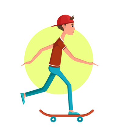 Casual boy rides skateboard, red board on blue wheels, young guy in blue jeans and t-shirt, teenage skater isolated cartoon flat vector illustration.