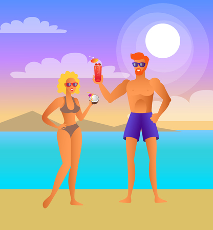 Man and woman on beach at night with cocktails. Couple drinks beverage next to sea under moon. Girl near guy, summer vacation vector illustration.