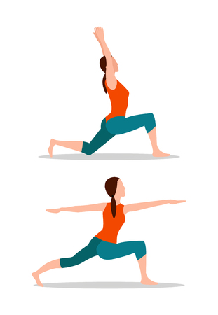 Crescent lunges and mountain arms up position, activities or yoga collection, sport exercises cartoon flat vector illustrations set isolated on white. Ilustracja