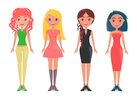 Redhead woman in skinny pants, blonde girl wears pink dress, black classical garment on stylish lady, young female with red gown vector illustrations.