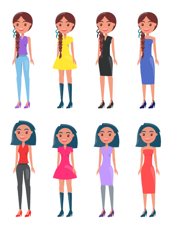 Brunette braided girls in modern casual and elegant looks. Young ladies wears dresses or top with pants. Womans stylish outfits vector collection. Illusztráció